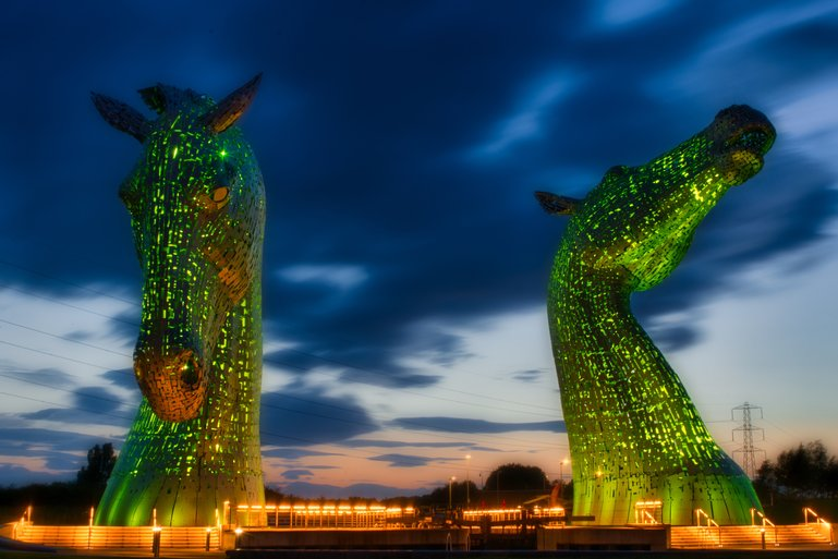 A brilliant green was one of the colours that lit up The Kelpies