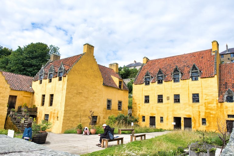 The ochre-coloured buildings that make-up Culross Palace