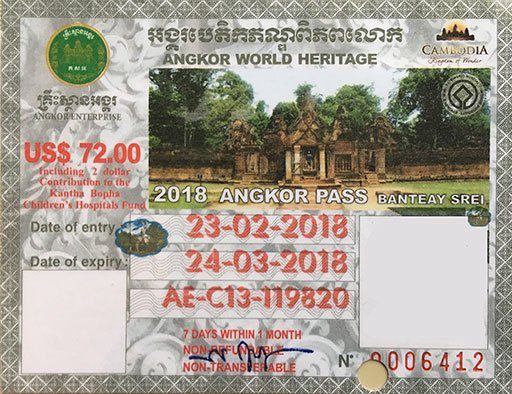 An Angkor Pass is required for admission to the temple sites