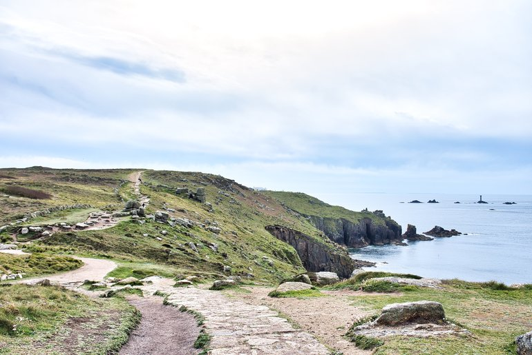 The rocky Coastal Path that is level but uneven