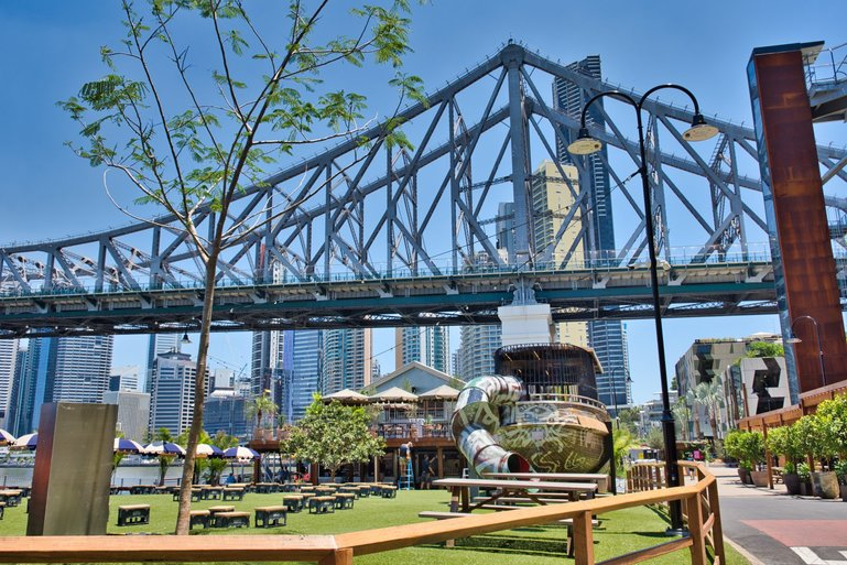 The Wharves sit under the Story Bridge