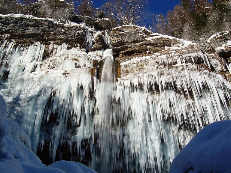 Frozen Peričnik waterfall.