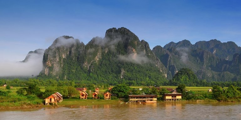 Landscape and mountains in Vang Vieng