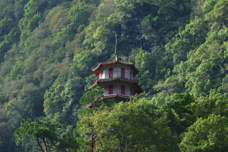 Changuang Temple Bell Tower, located at the end of the Eternal Spring Shrine Trail