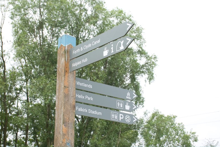 One of the many signposts at The Helix