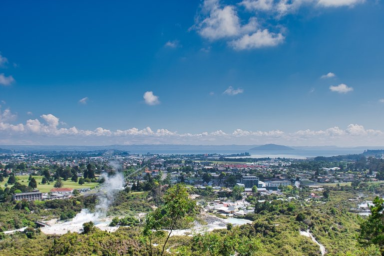 From the lookout, you can look out over Te Puia, Rotorua City Centre, Lake Rotorua and Mokoia Island