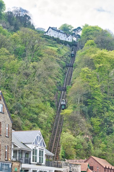 The Cliff Railway going up and down the cliff-face