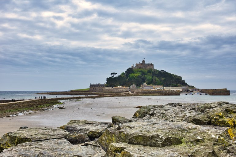 Mount St Michael from rocks on the coastline at Marazion