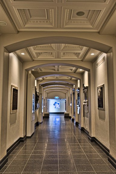The long corridor of the WW1 Memorial Crypt, there is another entrance at the end
