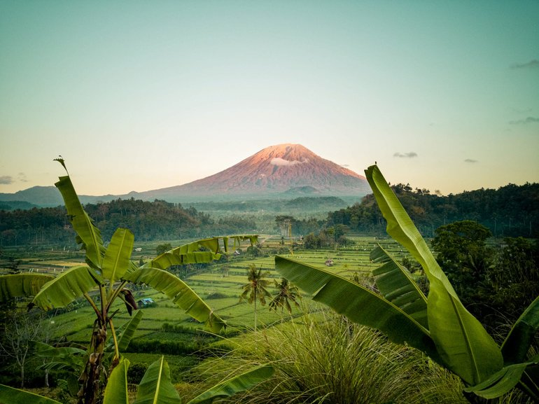 Bali the towering volcano of Agung