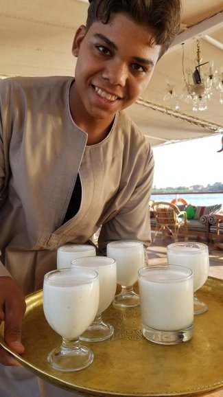 Mahmoud with a cool drink.