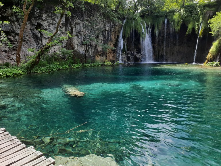 one of many waterfalls at the Plitvice Lakes National Park
