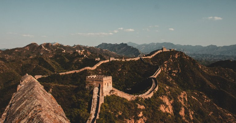 Damaged part of the great wall of China