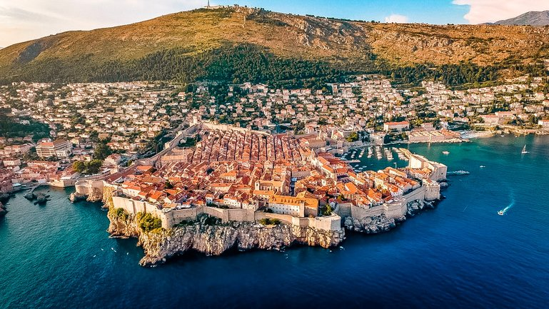 Dubrovnik seen during approach to airport