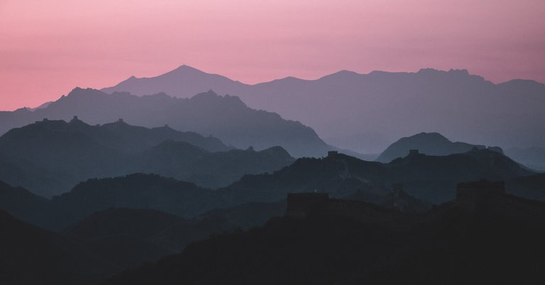 Purple sunrise on the great wall of China