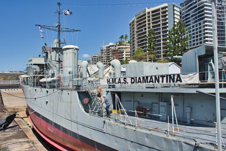 The HMAS Diamantina is sitting in dry dock that you are welcome to walk around and explore