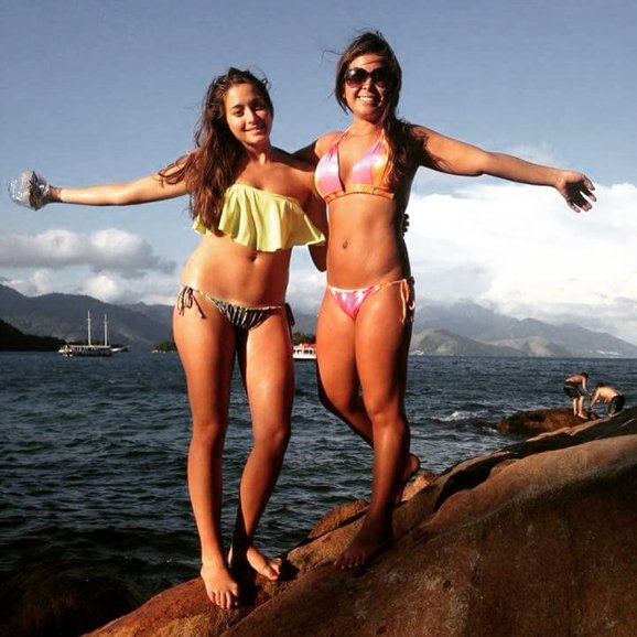 Bianca with our friend Salyna in Ilha Grande