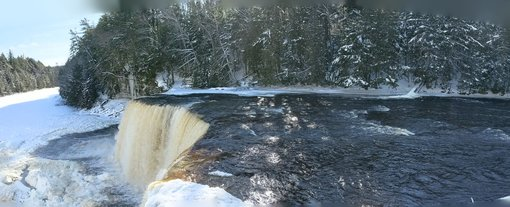 Winter camping at Tahquamenon Falls in MI's Upper Peninsula