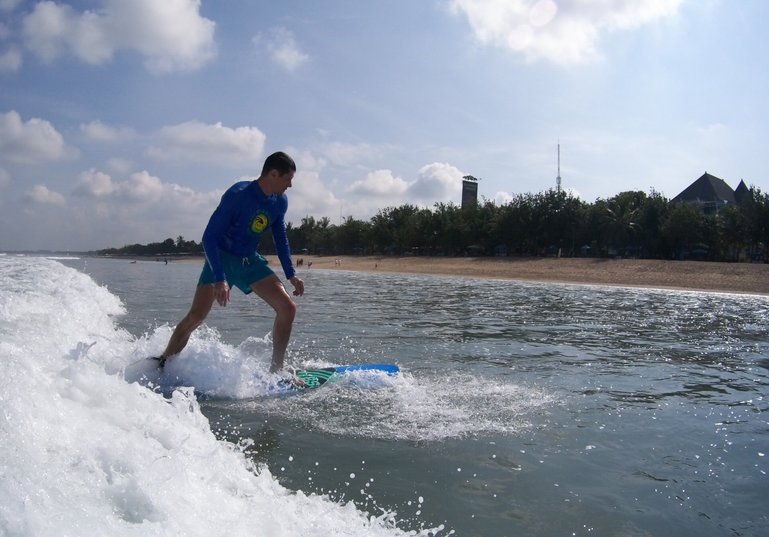 Beginner surf class in Kuta Beach