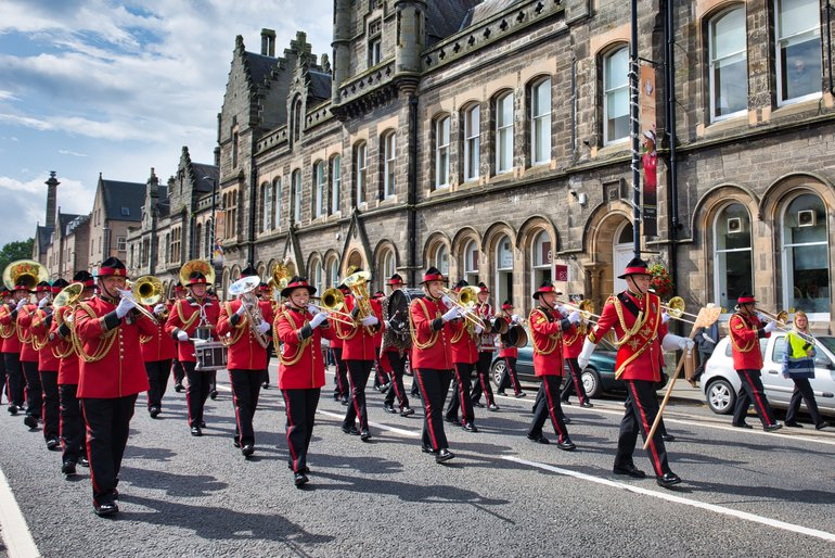The New Zealand Army Band on a day off from the Edinburgh Tattoo.