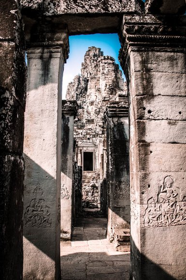 View through the maze of passageways to the upper level at Bayon