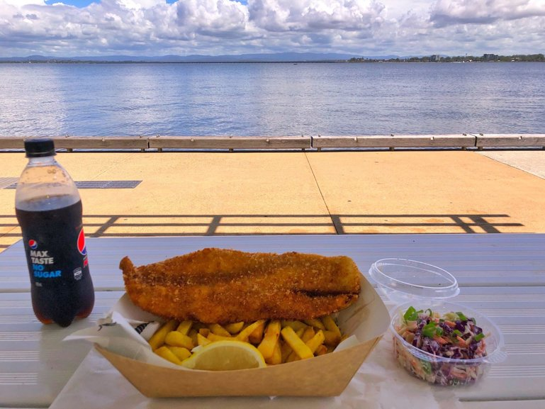 Seafood Town Cafe fish and chips with million-dollar views