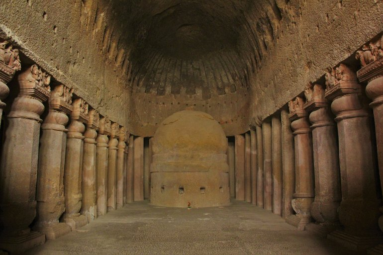 Kanheri Caves prayer hall, picture by AKS.9955