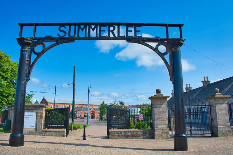 The gates at the entrance to Summerlee Museum