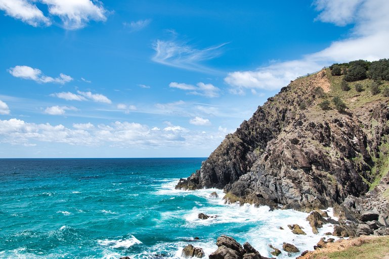 The rugged coastline of the most easterly point in Australia