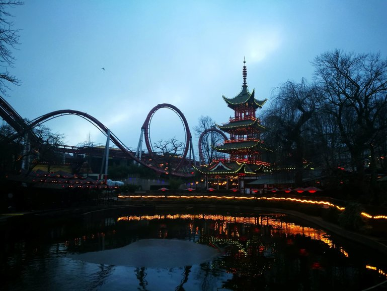 Tivoli gardens at night