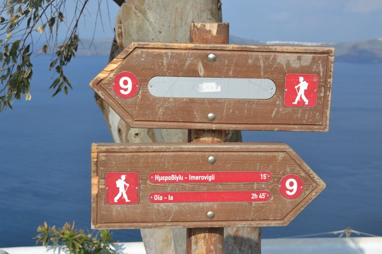 Signs marking the trail