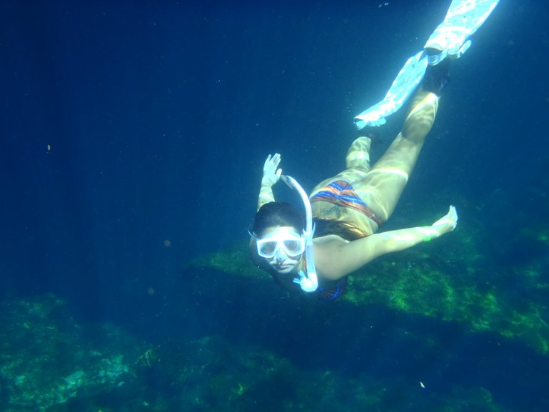 Bianca free diving cenotes